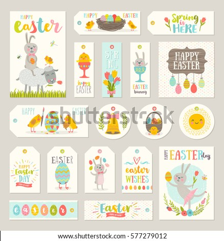 Set easter gift tags labels cute stock vector 577279012 shutterstock set of easter gift tags and labels with cute cartoon characters and type design easter negle Image collections