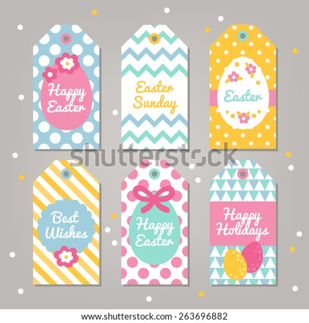 Set easter gift tags polka dot stock vector 263696882 shutterstock set of easter gift tags with polka dot chevron triangles and diagonal stripes patterns negle Image collections