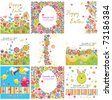 Set of easter greeting cards - stock vector
