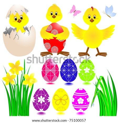 Set of Easter icons with funny chickens, eggs, grass and daffodil. Vector.