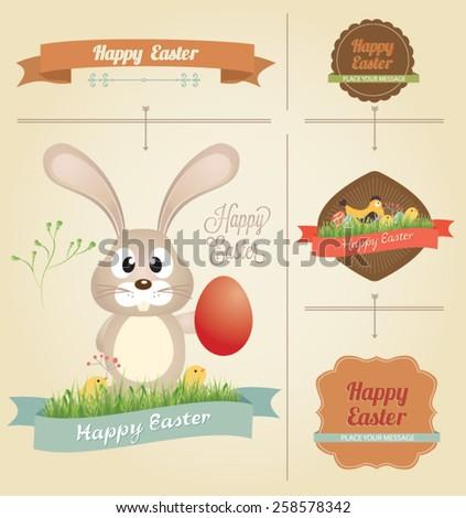 Set of Easter ornaments and decorative elements, vintage banner, ribbon, labels, frames, badge, stickers. Vector Easter element. Vintage chick - stock vector