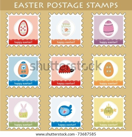 Set of 9 easter postage stamps