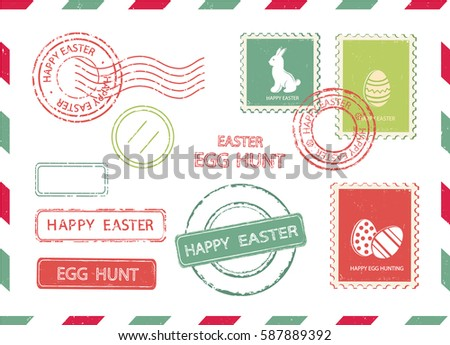 Set of Easter postal stamps on an envelope background. Vector illustration.