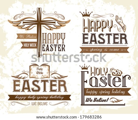 Set of easter typography emblems - stock vector