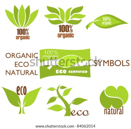 Set of eco and organic logo symbols and icons for design. Vector illustration - stock vector