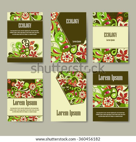 Set of eco brochures and flyers.  Cards with flowers for your design on ecology business