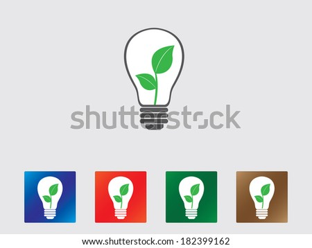 Set of eco bulbs icon illustrated on gray background