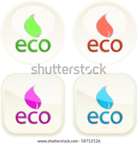 Set of eco buttons. Vector illustration. - stock vector