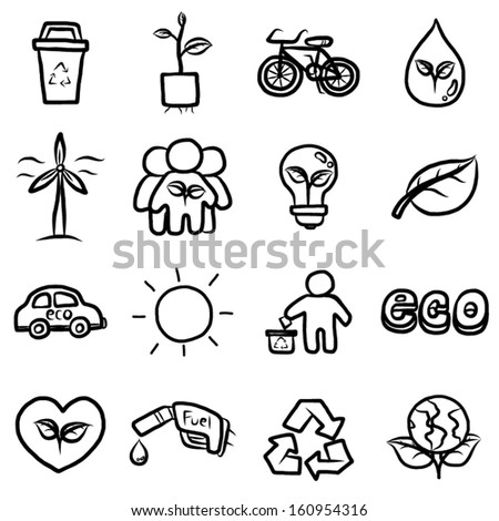 set of eco, ecology and environmental concept objects or icons / cartoon vector and illustration, hand drawn black and white, isolated on white background. - stock vector