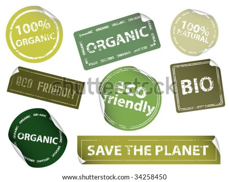 Set of Eco Friendly, Natural and Organic Labels - stock vector