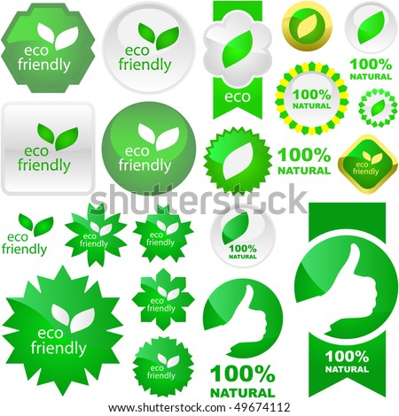 Set of eco friendly, natural and organic labels. Vector great collection. - stock vector