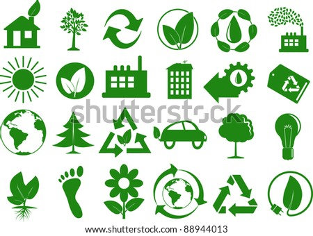 Set of eco icons - stock vector