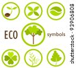 Set of eco icons and symbols in circles. Vector logo illustration - stock photo