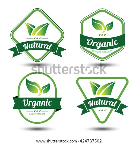 Set of eco labels and badges,emblem with leaves ,vector illustration