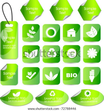 set of eco stickers tags or badges - stock vector