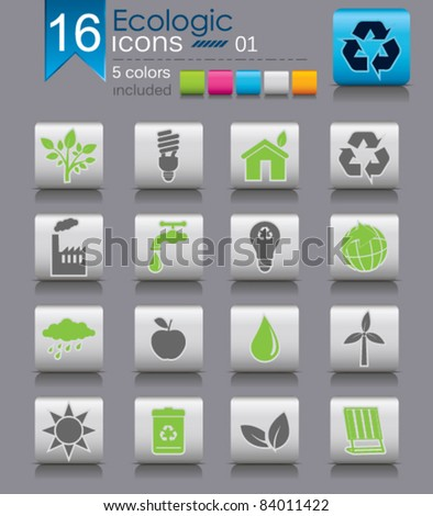 Set of Ecological Icons. 5 Colors included.