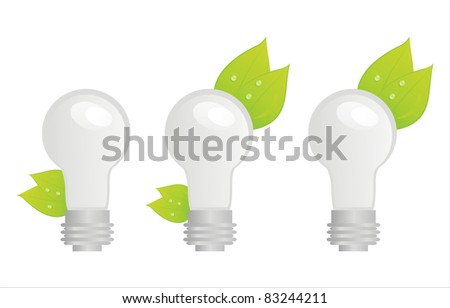 set of 3 ecological lamps icons