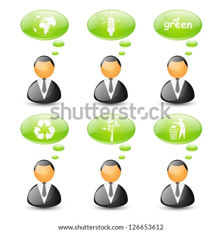 Set of ecology business icons - stock vector