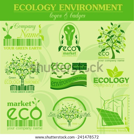 Set of ecology, environment and recycling logos. Vector logo templates and badges  - stock vector