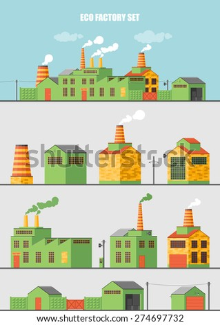 Set of ecology factory - stock vector