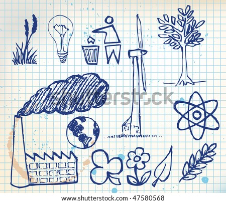 Set of ecology hand-drawn icons - doodles  on chequered paper (vector) - stock vector