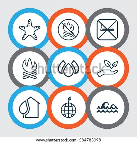 Set 9 Ecology Icons Includes Fire Stock Vector 584783098 ...