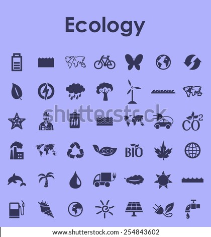 Set of ecology simple icons - stock vector
