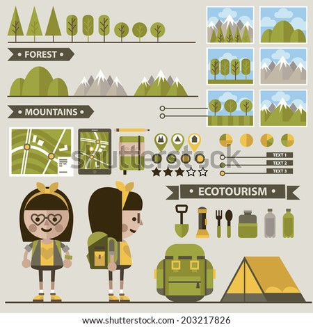Set of ecotourism images . Vector. Flat icons.Female character in two perspectives - stock vector