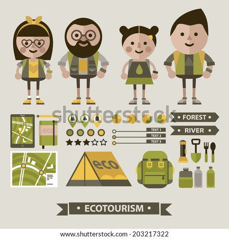 Set of ecotourism images . Vector. Flat icons.Set of characters in the field uniform - stock vector