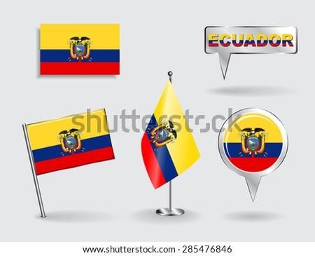 Set of Ecuadorian pin, icon and map pointer flags. Vector illustration. - stock vector