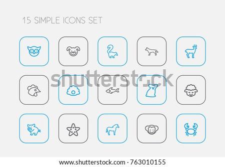 Set 15 Editable Animal Outline Icons Stock Vector 763010155