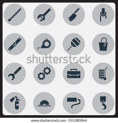 Set Of 16 Editable Apparatus Icons. Includes Symbols Such As Sheave, Key, Excavate And More. Can Be Used For Web, Mobile, UI And Infographic Design.