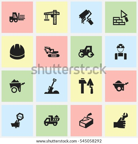 Set Of 16 Editable Construction Icons. Includes Symbols Such As Hardhat, Camion, Employee And More. Can Be Used For Web, Mobile, UI And Infographic Design.