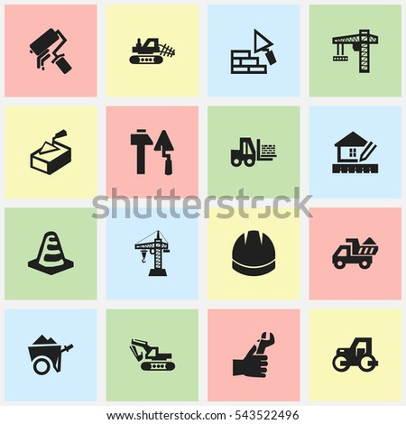 Set Of 16 Editable Construction Icons. Includes Symbols Such As Notice Object , Facing, Handcart. Can Be Used For Web, Mobile, UI And Infographic Design.