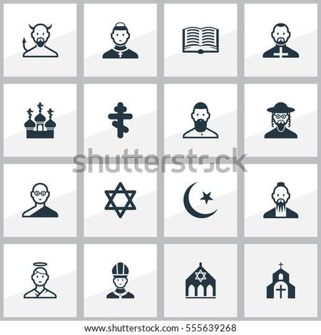 Set 16 Editable Faith Icons Includes Stock Vector Royalty Free