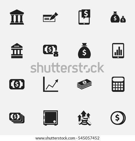 Set Of 16 Editable Finance Icons. Includes Symbols Such As Treasure, Banknote, Salary And More. Can Be Used For Web, Mobile, UI And Infographic Design.