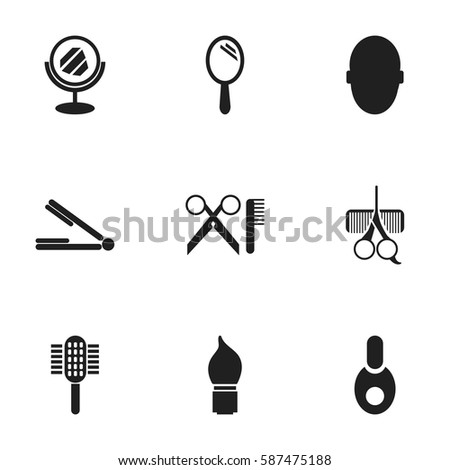 set 9 editable hairstylist icons includes stock vector 587475188