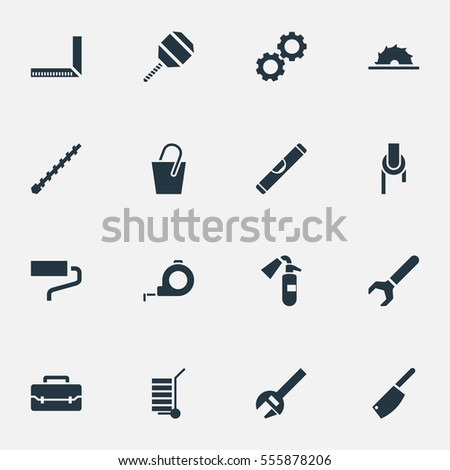 Set Of 16 Editable Instrument Icons. Includes Symbols Such As Handle , Band, Sawblade. Can Be Used For Web, Mobile, UI And Infographic Design.