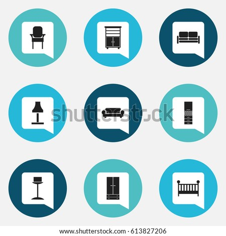 Set Of 9 Editable Interior Icons Includes Symbols Such As Enlightenment Canape Material