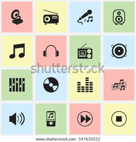 Set Of 16 Editable Melody Icons. Includes Symbols Such As Music Phone, Disc, Phonograph And More. Can Be Used For Web, Mobile, UI And Infographic Design.