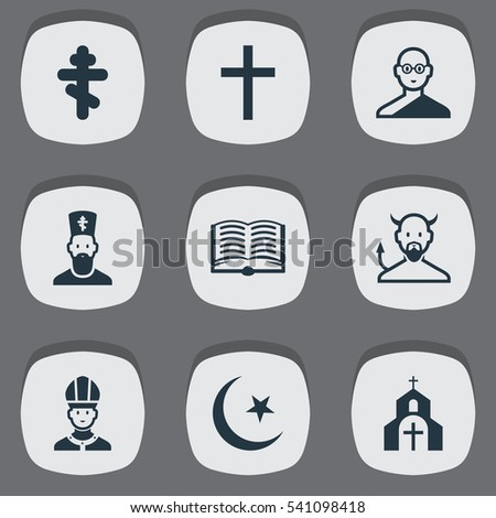 Set 9 Editable Religion Icons Includes Stock Vector 541098418