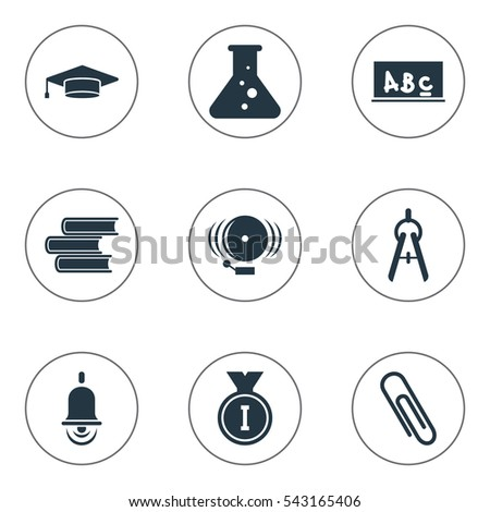 Set Of 9 Editable Science Icons. Includes Symbols Such As Chemistry, Ring, School Board And More. Can Be Used For Web, Mobile, UI And Infographic Design.