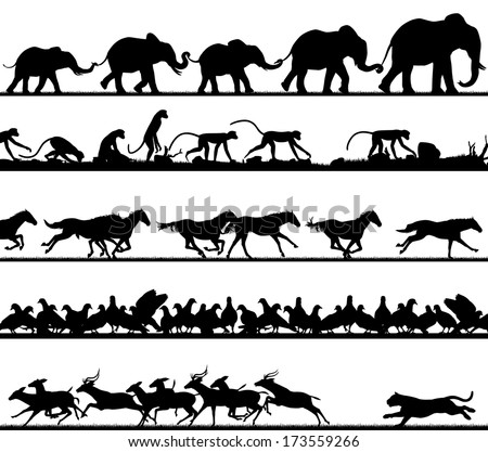 Set of editable vector animal silhouette foregrounds with all figures as separate objects - stock vector