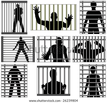 Set of editable vector designs of men behind prison bars - stock vector