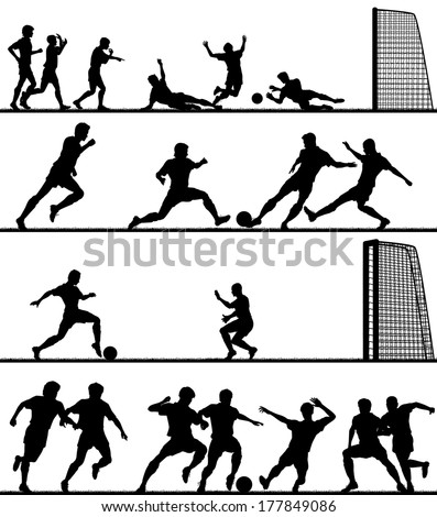 Set of editable vector foreground silhouettes of men playing football with all figures as separate objects - stock vector