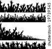 Set of editable vector foregrounds of crowds - stock photo