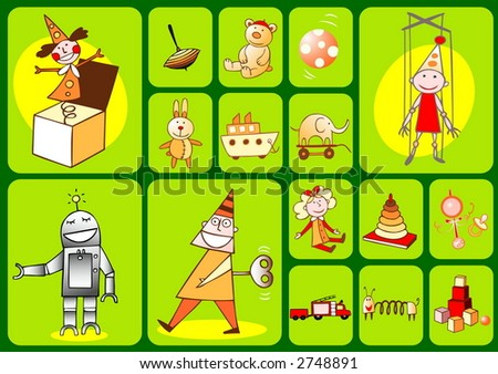 Set of editable vector icons and symbols - Toys - stock vector