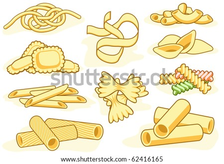Set of editable vector icons of different pasta shapes - stock vector