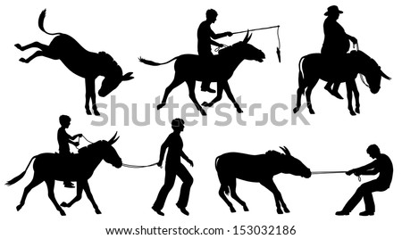 Set of editable vector silhouettes of donkeys and people in different situations with all figures as separate objects - stock vector