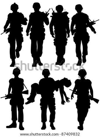Set of editable vector silhouettes of walking soldiers - stock vector